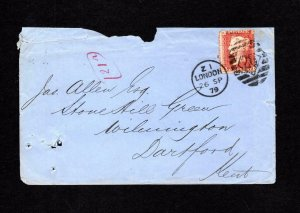 PENNY RED PLATE 201 USED ON COVER WITH '???' PERFIN (NOT PROPERLY PUNCHED OUT)