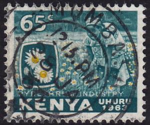 Kenya - 1963 - Scott #8 - used - Flower Daisy