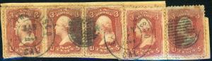 U.S. #65 Used On Piece with Weiss Cert 1864 San Fancisco Grid Cancel