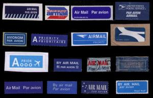 AIR MAIL LABELS LOT OF 16 DIFF FROM MANY COUNTRIES, NICE LOT, SEE SCAN