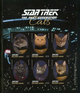 MARSHALL IS.2018 STAR TREK THE NEXT GENERATION CATS IMPERFORATE SHEET I  MINT NH
