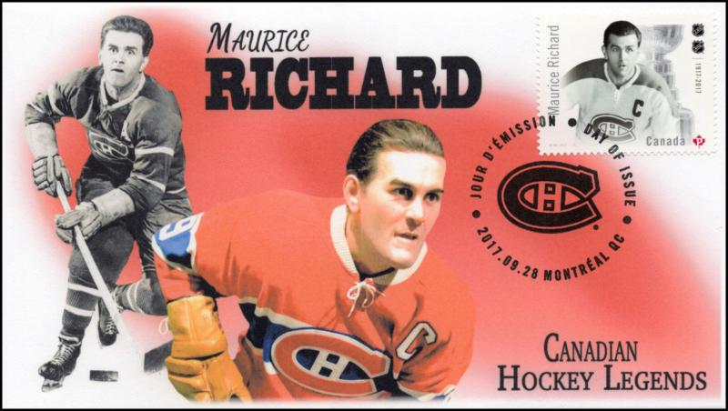 CA17-019, 2017, Hockey Legends, Maurice Richard, Day of Issue, FDC