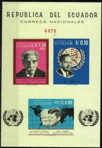 Ecuador Churchill, Kennedy 1966 Imperf Sheet  CV $32.50 (X5843L)