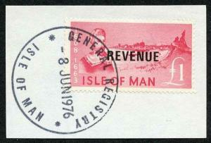 Isle of Man One Pound Deep Pink QEII Pictorial Revenue CDS On Piece