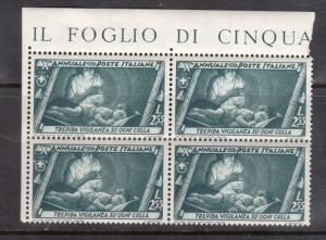 Italy #303 VF/NH Imprint Block