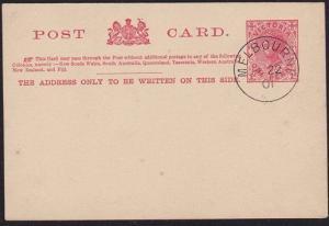 VICTORIA 1901 1d postcard - CTO Melbourne...................................7023
