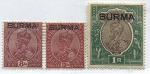 Burma KGV 1937 8 and 12 annas and 1 rupee mint o.g. hinged