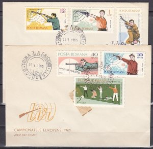 Romania, Scott cat. 1748-1753. Shooting Championship issue. 2 First day Covers ^