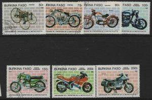 BURKINA FASO  689-695 USED MOTORCYLES SET 1985