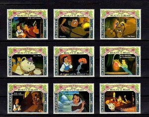 ST VINCENT - 1992 - BEAUTY & THE BEAST - BELLE - GASTON +++ 9 X MINT SET!
