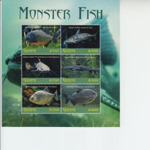 2019 Guyana Monster Fish Sheetlet of 4 (Scott NA) MNH