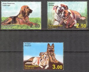 Tajikistan 2014 Breeds of Dogs set of 3 MNH**