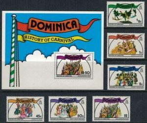 Dominica #555-561* NH  CV $3.30  Carnival set & Souvenir sheet