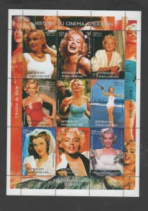 MALAGASY   2017  MARILYN MONROE    MINT  VF NH  O.G  SHEET OF 9  (MAL1)