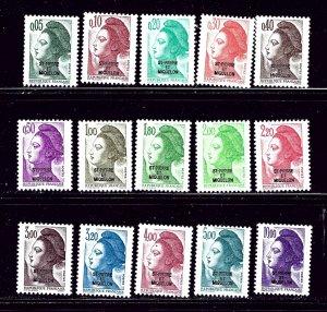 St Pierre and Miquelon 453-67 MNH 1986 Overprinted Definitive Set