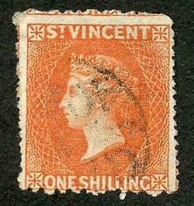 St Vincent SG24 1/- Vermilion Wmk Star S/ways Perf 11 to 12.5 x 15 Cat 85 pounds