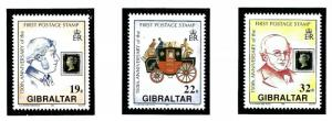 Gibraltar 570-72 MNH 1990 First Postage Stamp Anniv
