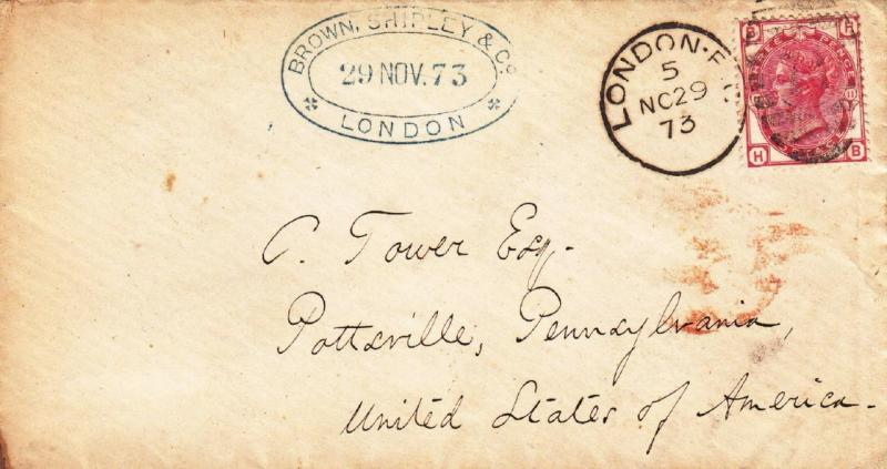 Great Britain: #61, pl #11 on a 1873 cover to Pottsville, PA (hs055)
