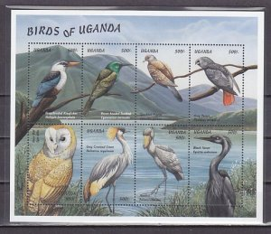 Uganda, Scott cat. 1615 a-h. Birds and Owl sheet. ^
