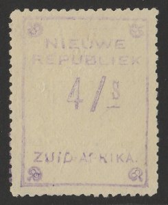 TRANSVAAL - NEW REPUBLIC 1887 4/S Violet with embossed arms, on yellow paper.