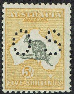 AUSTRALIA 1929 KANGAROO OS 5/- SMALL MULTI WMK