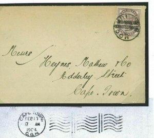 BECHUANALAND Cover *Mochudi* GB Overprint QV 1d Lilac 1904 Commercial COGH O21b
