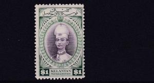 KELANTAN  1937  S G 52  $1  VIOLET & BLUE GREEN    MH CAT £65