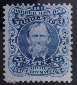 Scott #RO17c - 1c Blue - Pink Paper - Barber Match Co.