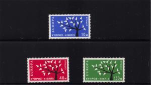 Cyprus, 1962-1963, Scott #219-221,Mint, V.L.H., V.F., Europa, Complete Set