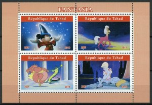 Chad Disney Stamps 2019 MNH Fantasia Mickey Mouse Cartoons Animation 4v M/S II