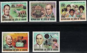 Ivory Coast SC460-464 NoblePrizeWinners-JohnSteinbeck-MaxPlanck--MNH1978