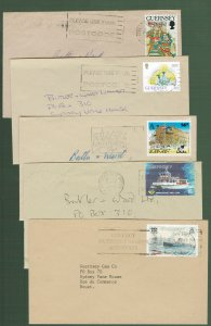 GUERNSEY - 5 neat covers, slogan cancels