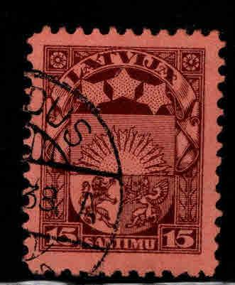Latvia Scott 157 Used coat of arms stamp