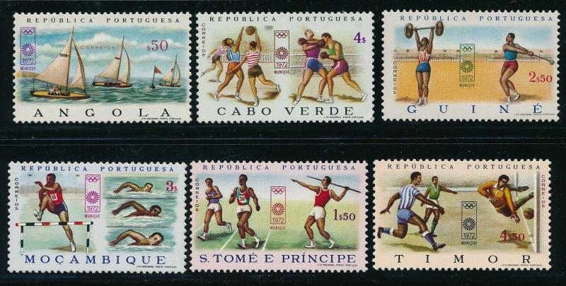 Portugaese Colonies - Munich Olympic Games MNH 6X Countries Set (1972)