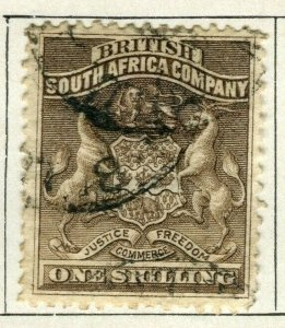 RHODESIA; 1890 early South Africa Company issue used 1s. value