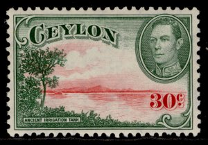 CEYLON GVI SG393b, 30c carmine & green, M MINT. Cat £13. WMK UPRIGHT