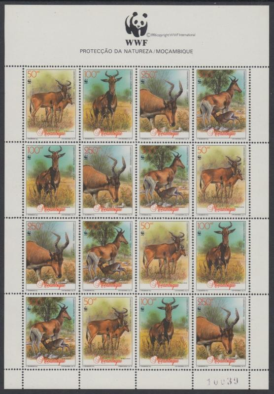 XG-BA102 MOZAMBIQUE IND - Wwf, 1991 Wild Animals, Nature MNH Sheet