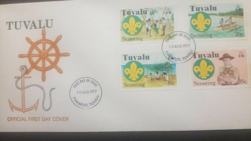 O) 1977 TUVALU, SCOUTS-LORD BADEN POWELL, SWEARING IN CEREMONY AND SCOUT EMBLEM-