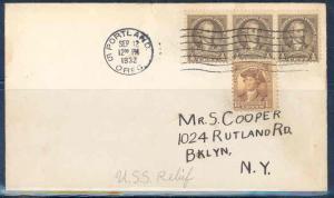 UNITED STATES 1932 U.S.S RELIEF PORTLAND OREGON  WASHINGTON BICENTENNIAL COVER