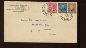 Guam Scott 2, 5 & 8 Overprint Used Stamps on Military Cover Guam to Altoona PA