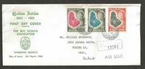 1962 Boy Scouts Association Barbados registered cover with solicitation letter