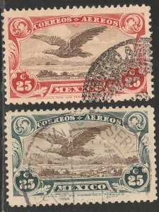 MEXICO C3-C4, Early Air Mail set of two. USED. VF. (1360)