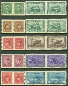 EDW1949SELL : CANADA 1942-43 Sc #258-62, 263-67 All pairs. All VF MNH. Cat $396.