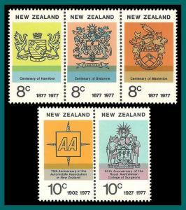 New Zealand 1977 Anniversaries, MNH #617a-619a,SG1132a-SG1135a