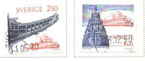 Sweden Sc 1829-30 1990 Warship Wasa stamp set used