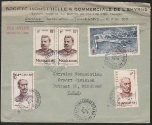 MADAGASCAR 1954 airmail cover to USA - great franking......................46757