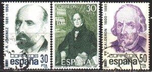 Spain. 1982. 2534-36. Bello the writer, Jimenez the poet, Barca the writer. U...