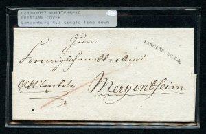 Germany German State Wurttemberg prestamp folded letter Langenburg R.3