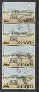 Zambia 1975 Flying Doctor Service Sc#146 Strip of 4 Used