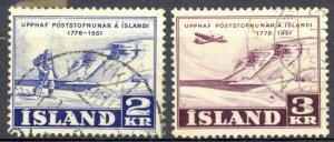 Iceland Sc# 271-272 Used 1951 Postal Service 175th